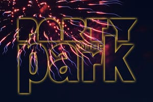 Photo of fireworks with event logo