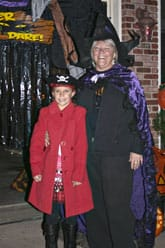 Mrs. Davis and former student, Grace, are all smiles before she enters the haunted house.