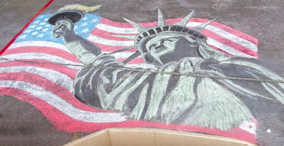 Photo of finished chalk art