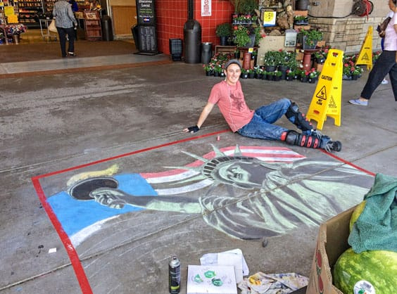 Chalk art in front of stor