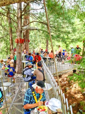 Photo of people eating lunbch on tree top platform