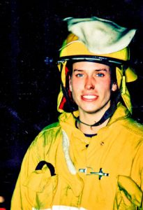 Photo of Terri Wiebold as a firefighter