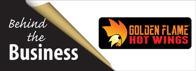 Graphic Behind Business Golden Flame Hot Wings