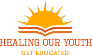 Graphic logo Healing Our Youth Get Educated