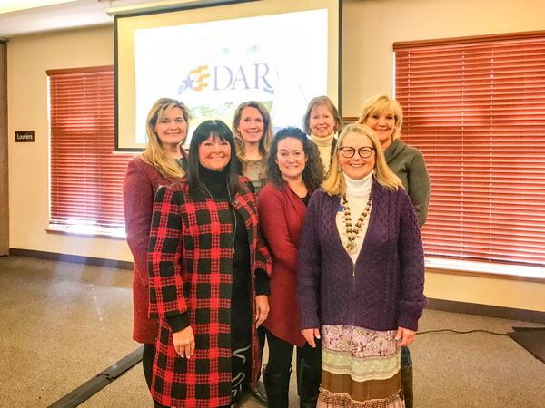 Photo of Castle Rock DAR members Debbie Mulvey, Kim Gower, Christy Brown, Jane Talus (prospective), Monica Flinner-Ross, Janice Baker and Kathy Erdman.