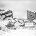 Photo of Red Rocks Amphitheater in winter under construction.