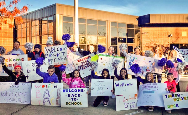 Photo of Timber Trail Students welcome back to school posters
