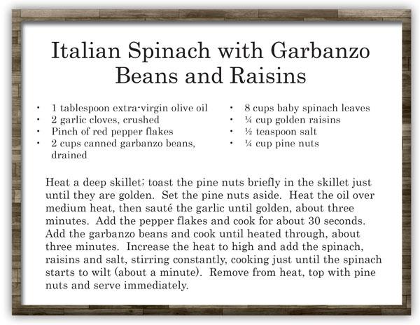 Recipe Italian Spinach with Garbanzo Beans and Raisins