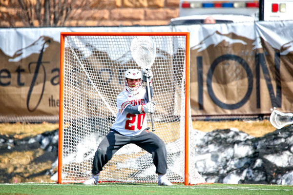 Photo of Jack Thompson goalie for DU Pioneers