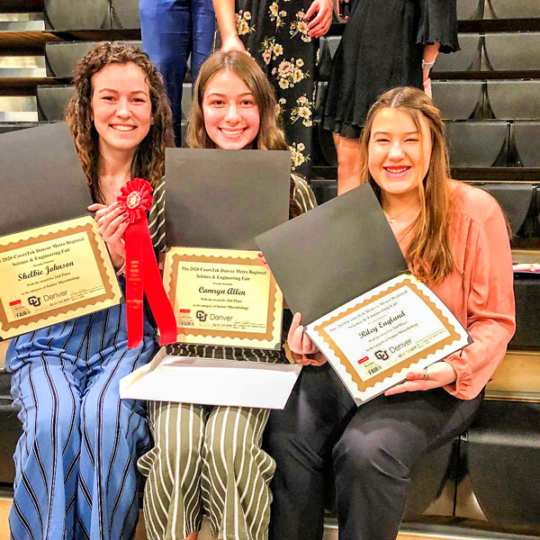 Photo of Rock Canyon students Shelbie Johnson, Camryn Allen and Riley England