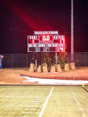Photo of scoreboard at the end of the game.