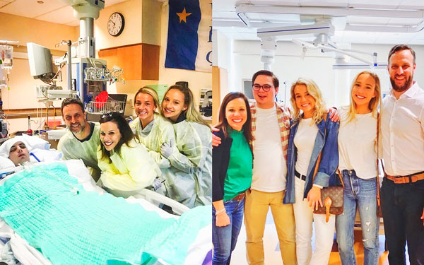 Photo The Landis family together surrounding Jonny in the hospital
