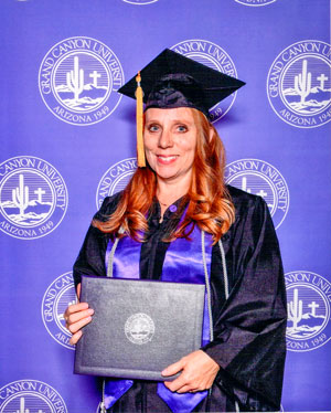 Photo of Kathy Gallegos graduating from Grand Canyon University