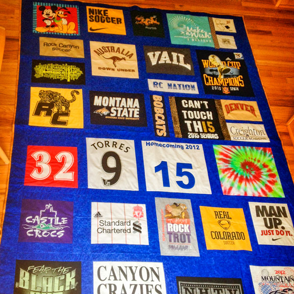 Photo of homemade quilt.