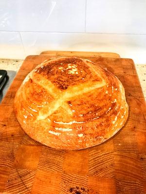 Photo of homemade sourdough.