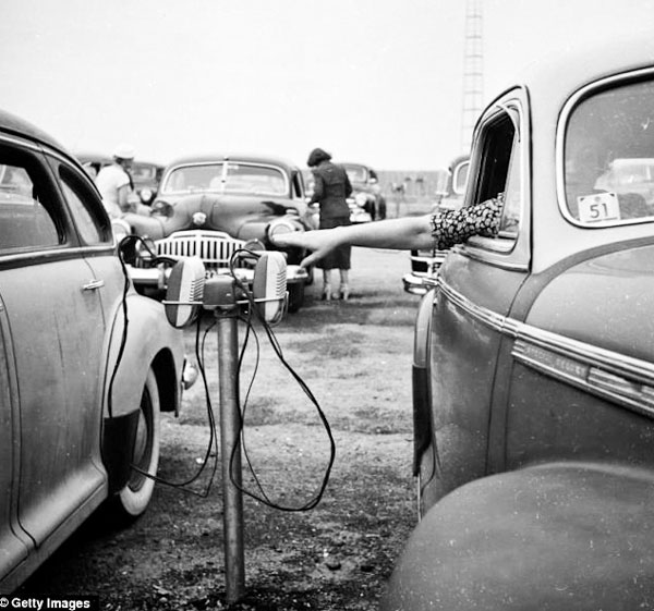 Photo of vintage car speakers at drive-in theater