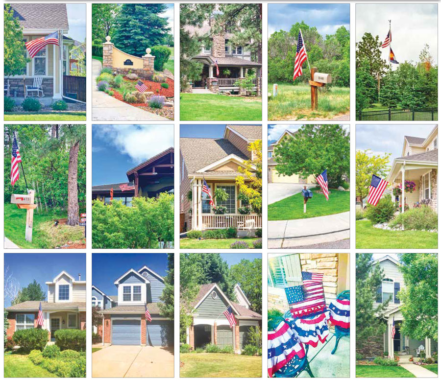 Photo collage of U.S. Flags flying
