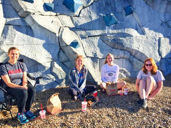 Photo of Haley Cranney, Abby DeNezza, Hannah Stephenson, Sarah Mendus, and Sarah Bermingham try Randonautica app