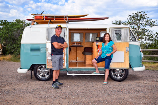 Photo of the Aragons and Vintage 1965 Volkswagen Bus.
