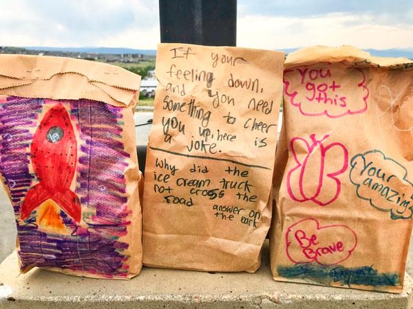Flagstone Elementary School Girls decorate sacks