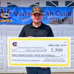 Photo of Jacob Skelton with his $2,500 scholarship