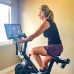 Photo of Michelle Stutler on her Peloton bike