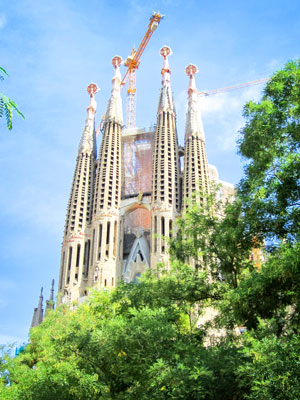 Partial view of Gaudi's La Sagrada Familia.