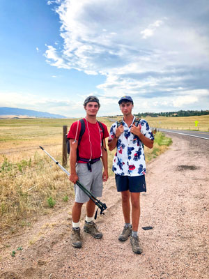 Photo of Josh Harmon (left) and Brad Hansen (right) who walked 51 miles on day one to raise awareness of raciall injustice.
