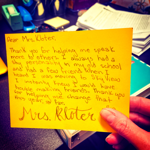 Photo of affirmation of Christy Kolter's great teaching
