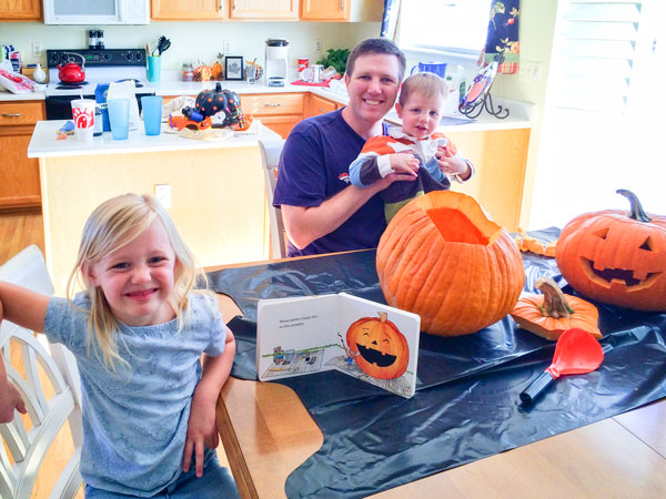 PHoto of the Macklin family loves to celebrate fall with pumpkins