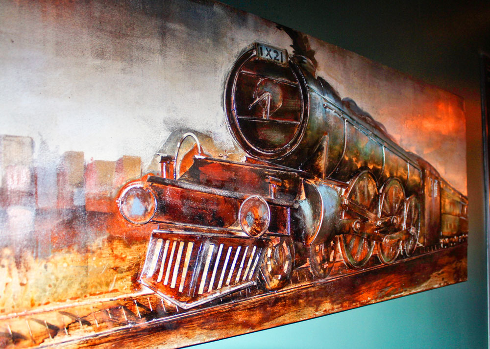 Photo of painting of old train