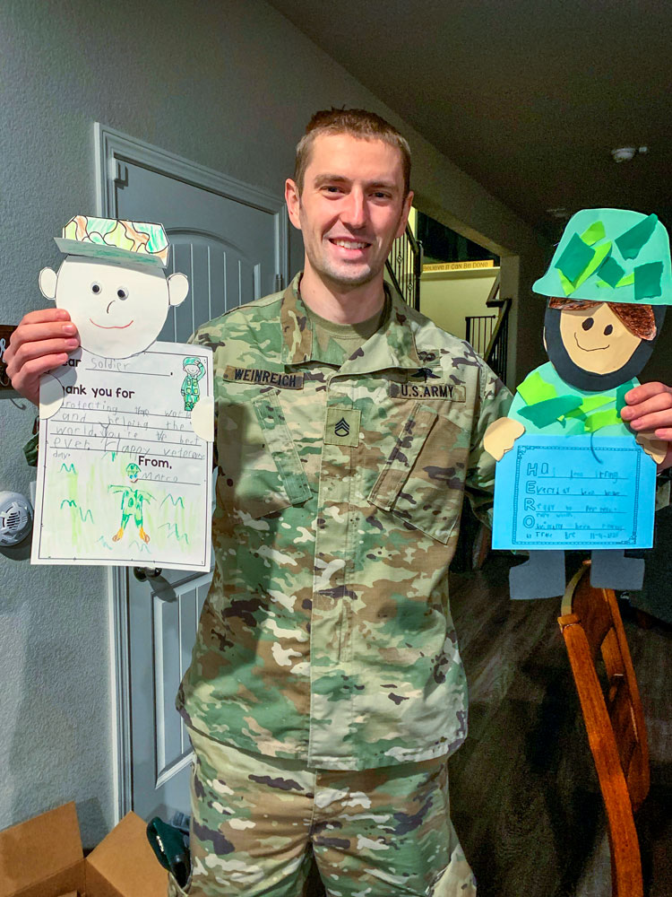 Photo of Fort Carson soldiers received hundreds of handmade Veterans Day cards