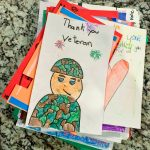 BRE students drawing thanking veterans
