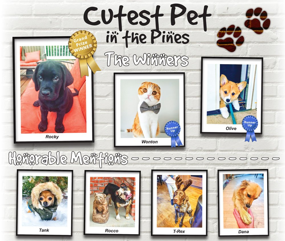 Photo collage of 2020 Cutest Pet in the Pines winners