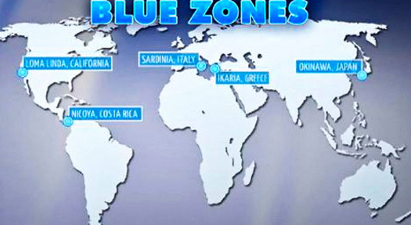Map of Blue Zones
