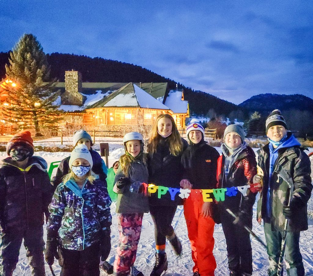 Photo of Castle Pines residents stop for a break to welcome the New Year.