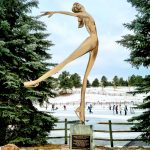 Evergreen Lake House stands the Peggy Fleming sculpture