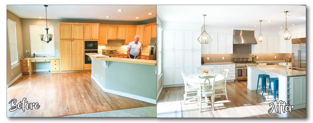 Photo of before and after kitchen improvement