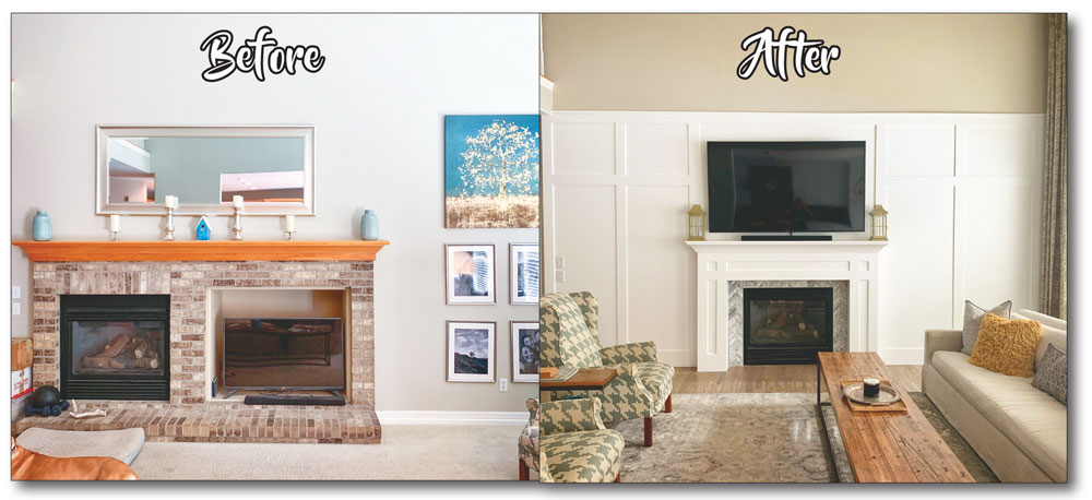 Before and after great room renovation