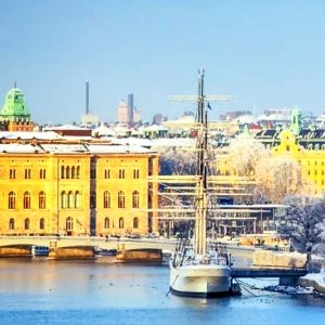 Photo of view north with Skeppsholmen Island.