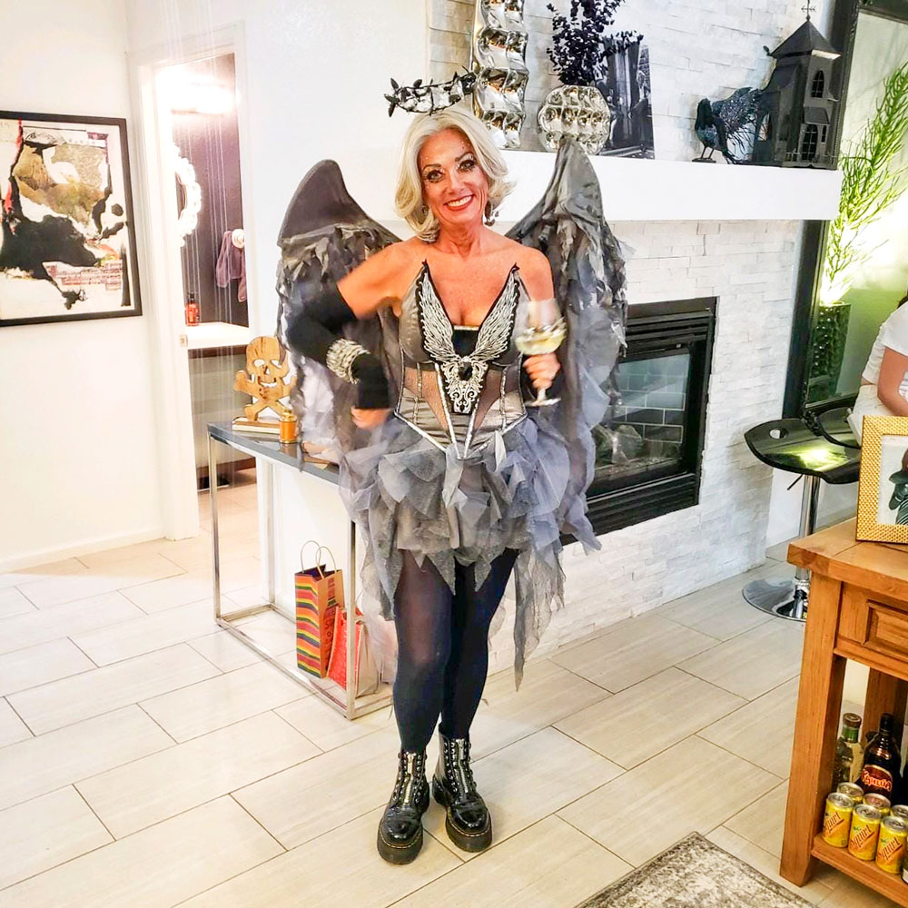 "Photo of Cline said she dressed as a ""dark angel with all gray hair"