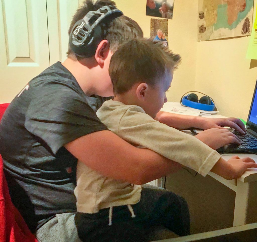 Quentin loves having his siblings home doing remote learning.
