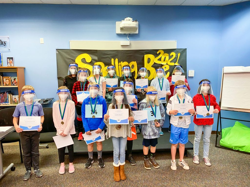 Photo of top spellers at BRE competed in a modified spelling bee.