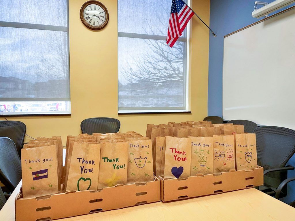 Photo of goodie bags for sheriff and deputies