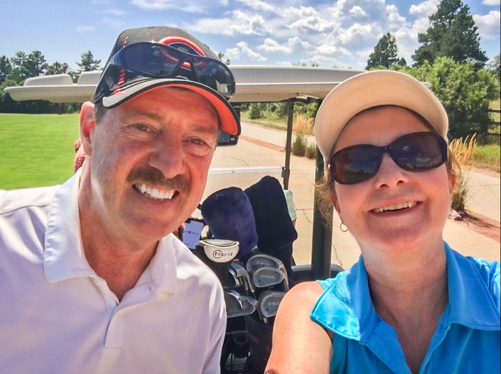 Rusty and Donna Walker hit the links at The Country Club at Castle Pines