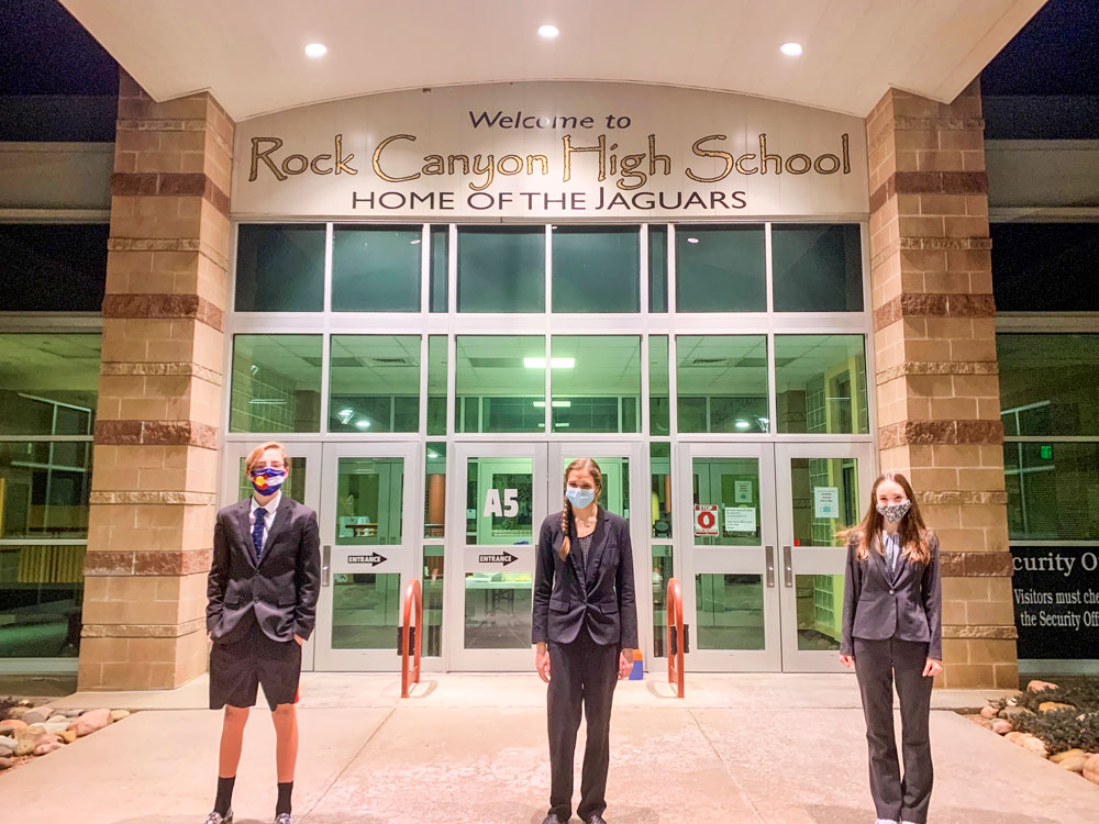 Photo of RCHS students Carter McDonald, Allison Willner, and Frankie Stroud