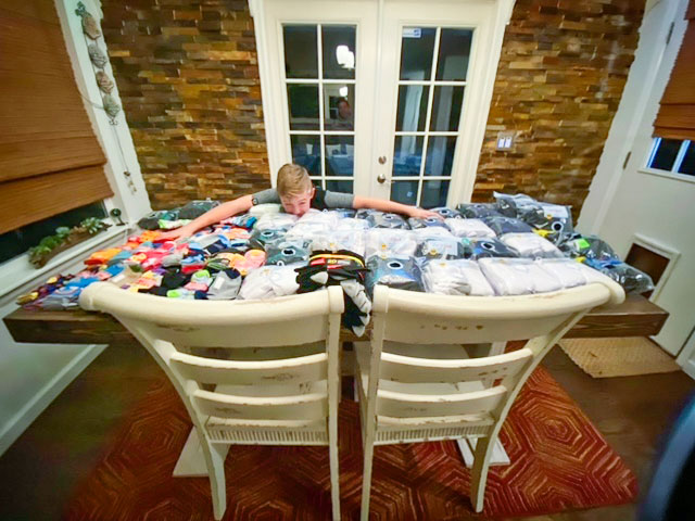 Corey White amazed by how many socks were collected