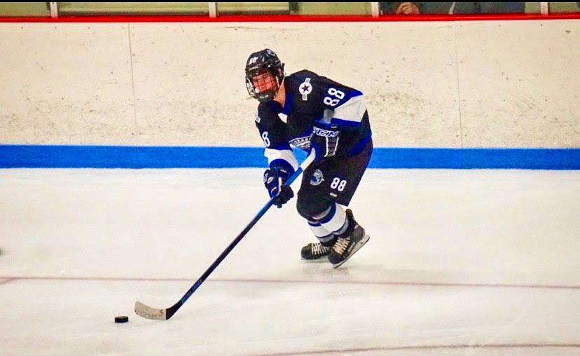 Photo of RCHS senior Jacob Saenger has had an exciting hockey season