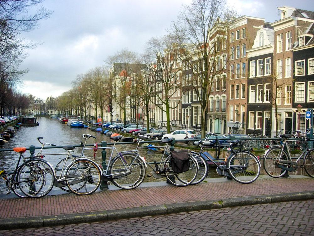 Photo of typical Amsterdam scene of bikes'