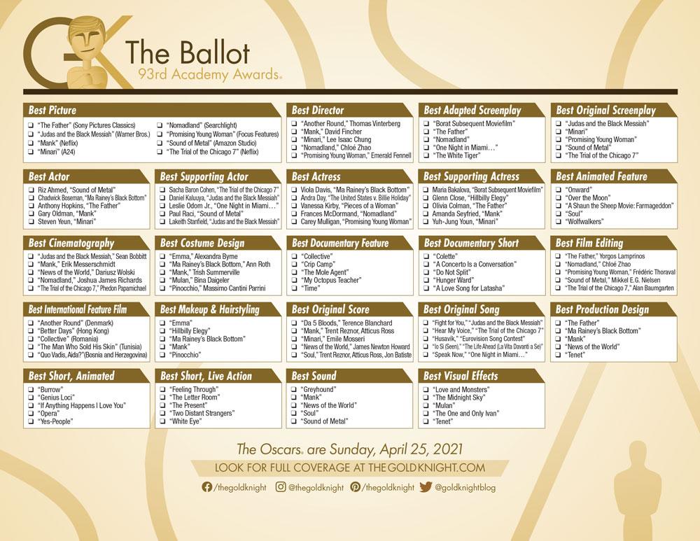 Ballot for Academy awards